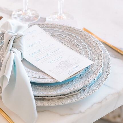 Posted @withregram • @destination_weddings_italy New week, new beginnings and some favorites to start the day! Among those there's our delicate and ethereal light blue table set by @geg_party_service, coordinated to our elegant menu, written in the enchanting calligraphy by @beautifuletters ✍️ It sends my design heart to overdrive!💙   Featured on the @wedluxe blog Project and Design @destination_weddings_italy    Venue @villa_astor @theheritagecollection Floral Design @andreapatrizifloraldesigner Photography @mantino_photography Videography @merakstudioita MUAH @alessandromancinostudios Rental @geg_party_service Calligraphy and stationery @beautifuletters Bridal Gowns @liabella_boutique Groom's Tux @bencivenga_altasartoria Cake design @rose_cakes_rome Perfumes @lamiacasanelvento Bridal Jewelry @nea.milano  Bridal shoes @bellabelleshoes Rings @taya.gioielli Models @luigi_soriano @robertabuoncammino   #tablesetting #tablewear #tablesettingideas #tabledecor #weddingtabledecor #weddingtablesetting #weddingtabledesign #weddinginspiration #destinationwedding #destinationweddingplanner #weddingdesigner #weddingdecor #shadesofblue #sorrento #sorrentocoast #sorrentowedding #amalficoast #amalficoastwedding #villaastor #theheritagecollection #wedluxe #wedluxemagazine