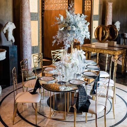 Posted @withregram • @destination_weddings_italy The creation of a beautiful, bespoke wedding design requires the coordination of talent and resources across many disciplines of fine art such as architecture, photography,  floral and interior design, graphic design etc.   Me and my team wanted to bring the glitz and glamour to this project by using the rich, luxurious combination of black and white decor. The two opposite colors contrast perfectly to create a modern and elegant look; the contribution of soft gold tones allowed us to maintain the traditional elegance of our historical and magnificent venue @villa_clara_rome.  I couldn't imagine a such a great result without my talented team which has been so supportive and enthusiast in creating so much beauty!   As seen on the @wedluxe blog Venue @villa_clara_rome @theheritagecollection  Wedding Planner & Designer:  @destination_weddings_italy  Floral designer: @giovanniraspantefloraldesigner Photography:  @gabrielemalagoli Videography:  @urania_wedding_films MUAH:  @arianna_saura_mua Bridal Accessories: @decolove_atelier  Shoes: @bellabelleshoes via @demasofficial  Fine Rings: @taya.gioielli Bridal Gowns: @bencivenga_altasartoria  Groom's tux: @urbanodellascala Furniture rental: @fabiobellotti64 Tableset rentals: @gegpartyservice  Zodiaco Ceramics: @laboratorioparavicini Calligraphy & Stationery: @lauramazzettitheweddingletters Cake Design:  @dolcealicecakes  Perfumes: @lamiacasanelvento_cosmetics Bridal lingerie: @julia_stefanello_atelier Light design: @_romapartyservice_   #weddingdecor #weddingtabledecor #weddingtableset #weddingtable #weddingflorals #weddingdesign #weddingplanneritaly #destinationweddingitaly #destinationweddingrome #luxurywedding