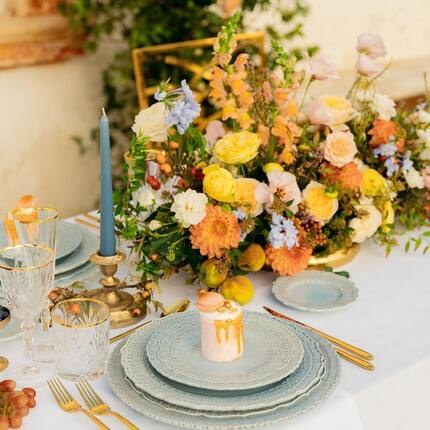 Posted @withregram • @weddinginpuglia This elegant pastel blue tableware by @geg_party_service  and golden cutlery by @iesapuliaeventi with a backdrop of warm autumn blooms by @flowers_lablecce. Special feature are coral color mini cakes by @toniobarba 🌿🌿🌿  Planning and design: @weddinginpuglia Venue:@tenutamoserelais Photographer: @bottega53 Videographer: @giuseppepiserchiafilms Flowers: @flowers_lablecce Hair: @robertobufano Makeup: @vaniatommasi_makeupartist Models: @targetartevents_brindisi @imanuela_aisien @annaminana @nadiamiccoli Stationery: @papier.handmade Rentals: @geg_party_service White linen and cutlery: @iesapuliaeventi Cake designer: @toniobarba Vintage Car: @pugliautoclassica Bridal Dress: @amalinevitale Bridesmaids Dresses and Boudoir Gowns:@amoralle Bridal Shoes: @bellabelleshoes Bridesmaids Shoes: @masciamandolesi Lingerie: @agentprovocateur Headpieces and earrings: @la_chia_headpieces Rings and necklaces: @christianzanejewelry Straw Hat: @montegallo_alicecatena White Swimsuit: @gigiandolive_ Pink Gin: @malfygin Popsicles: @popspoparazzi DJ (for playlist and mood): @alexsisto  #weddingtablescape #tablescape #tablescapestyling #weddinginpuglia #pugliastyledshoot #styledshootinpuglia #weddingplannerinpuglia #pugliaweddingplanner #editorialpuglia #pugliaweditoria #bottega53 #impressionvillasandweddings #weddinginapulia #pugliawedding #weddingeditorial #pugliastyle #luxurywedding #luxuryinpuglia #puglialuxurywedding